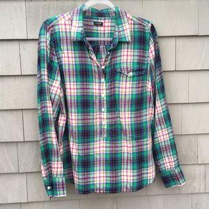 J. Crew Plaid Popover Shirt